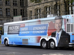 Conservative Leader Stephen Harper's bus sits ready on Parliament Hill on the first day of an election campaign in Ottawa on Sunday, Aug. 2, 2015. THE CANADIAN PRESS/Justin Tang